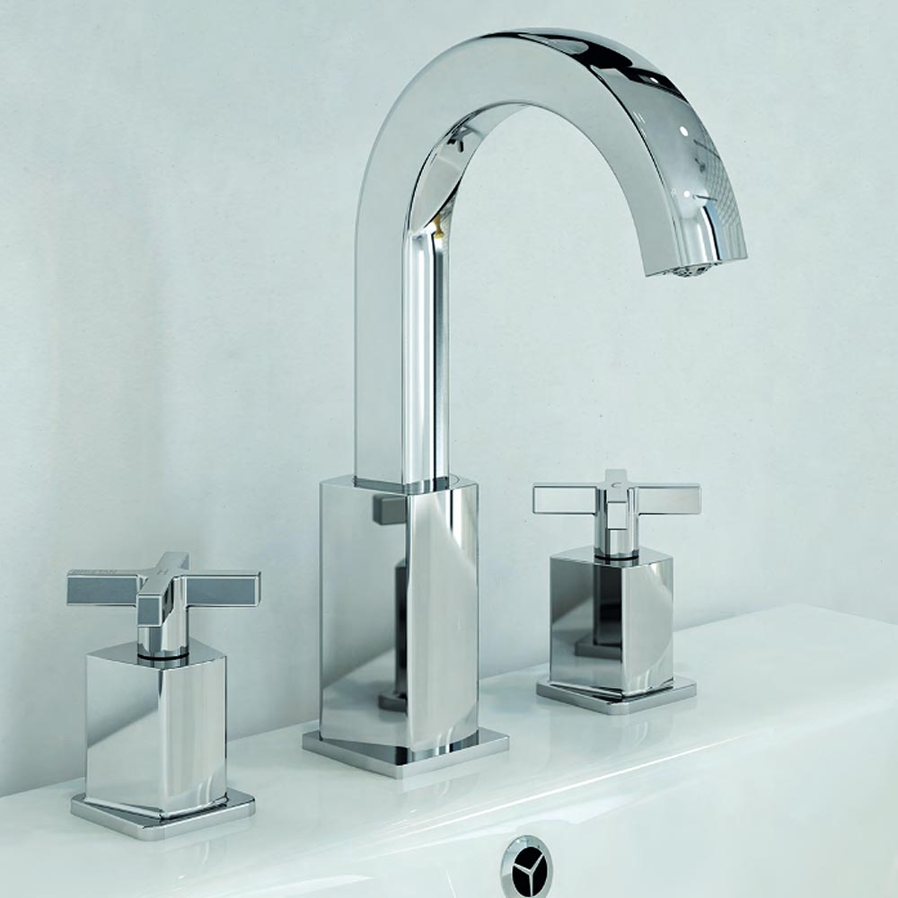 Bristan Cascade 3 Hole Basin Mixer with Clicker Waste Standard Large Image