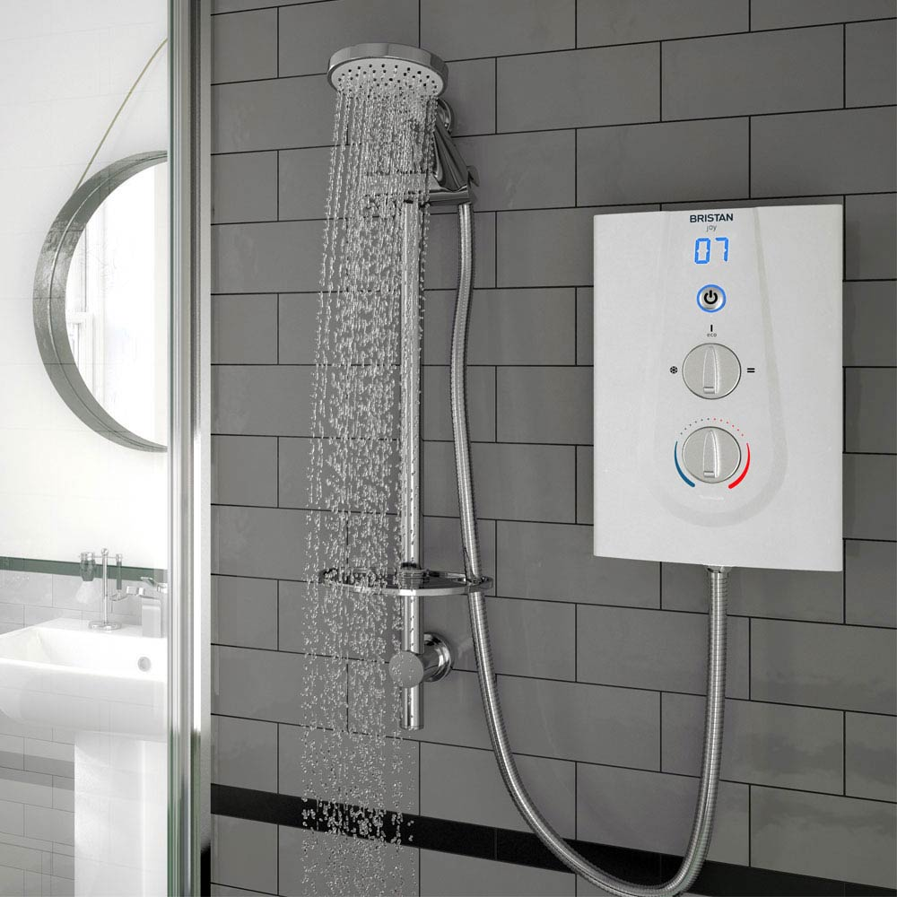 Bristan Joy ThermoSafe Electric Shower White profile large image view 2