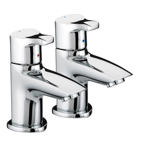 Bristan Capri Contemporary Basin Pillar Taps - Chrome - CAP-1/2-C