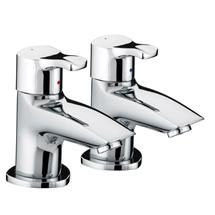 Bristan Capri Contemporary Bath Pillar Taps - Chrome - CAP-3/4-C Medium Image