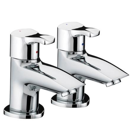 Bristan Capri Contemporary Bath Pillar Taps - Chrome - CAP-3/4-C