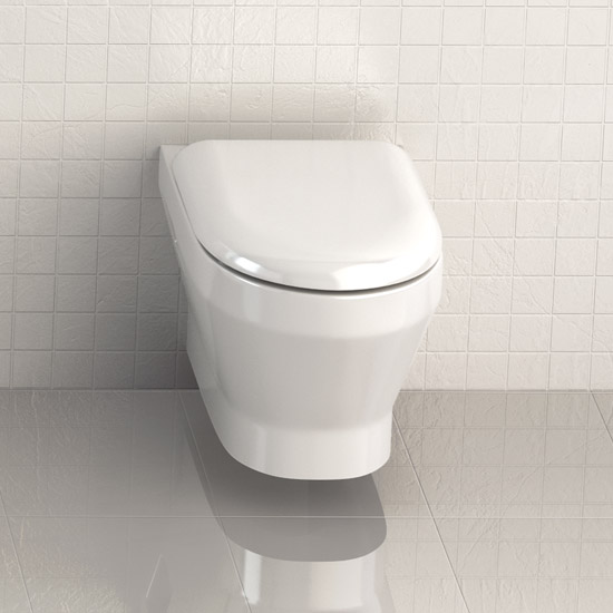 Britton Bathrooms - Curve Wall hung WC with soft close seat Feature Large Image