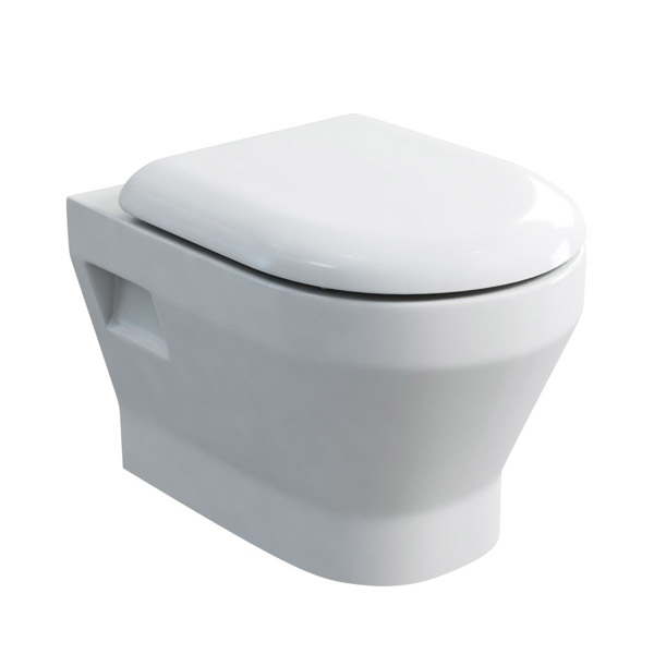 Britton Bathrooms - Curve Wall hung WC with soft close seat Large Image
