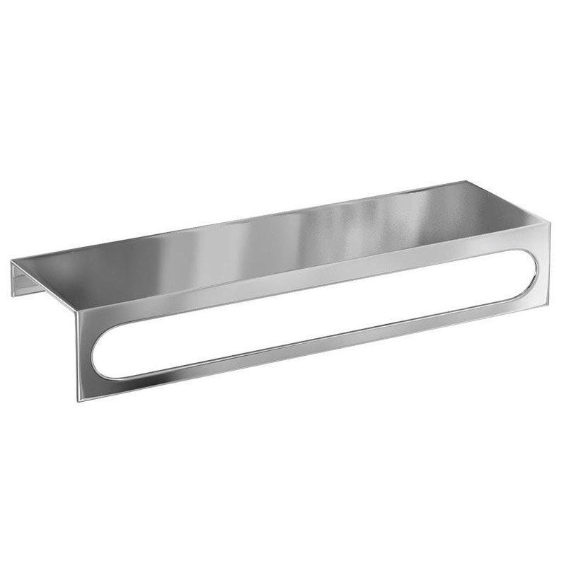 Britton bathrooms 35cm stainless steel shelf towel rail br15 at victorian plumbing uk for Stainless steel bathroom shower shelves