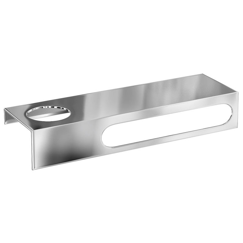 Britton Bathrooms - 35cm stainless steel shelf & towel rail with an offset hole - BR10 Large Image