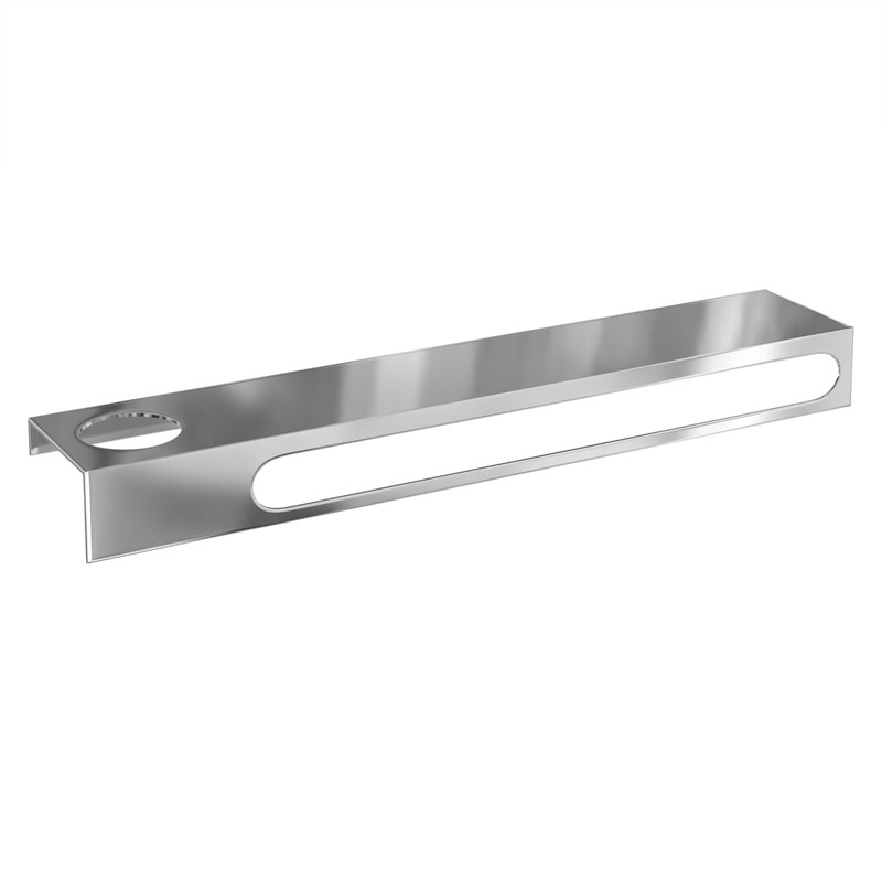 Britton Bathrooms - 55cm stainless steel shelf & towel rail with an offset hole - BR9 profile large image view 1