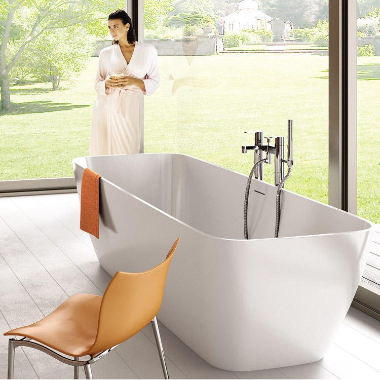 Britton Bathrooms - Crystal bath shower mixer with floor standing - CTA7 & W23 profile large image view 2