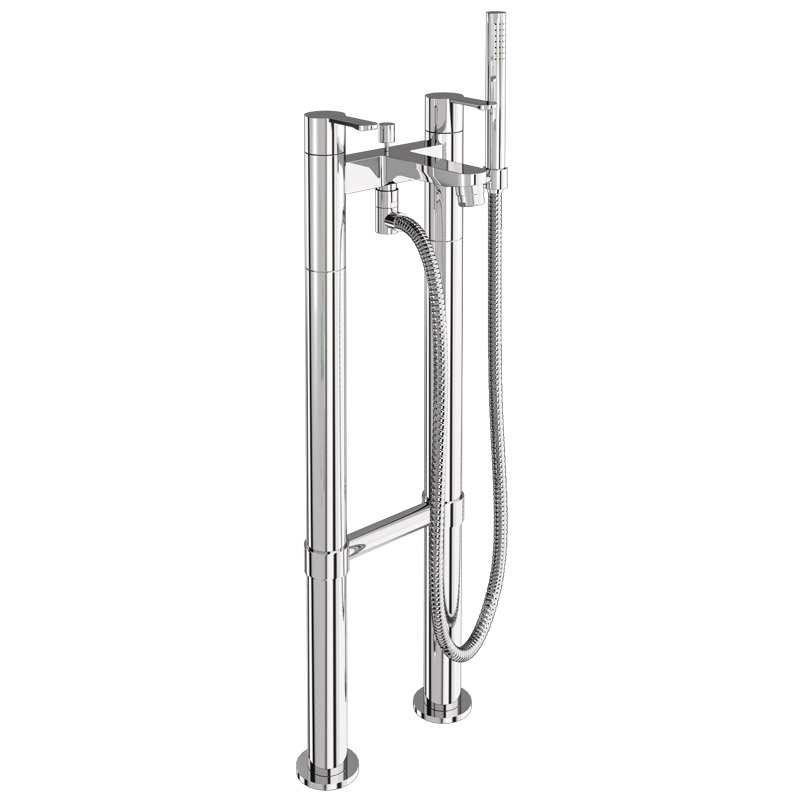 Britton Bathrooms - Crystal bath shower mixer with floor standing - CTA7 & W23 profile large image view 1