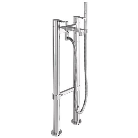 Britton Bathrooms - Crystal bath shower mixer with floor standing - CTA7 & W23