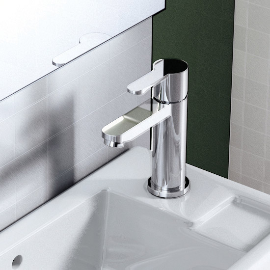 Britton Bathrooms - Crystal mini basin mixer without pop up waste - CTA8 Profile Large Image