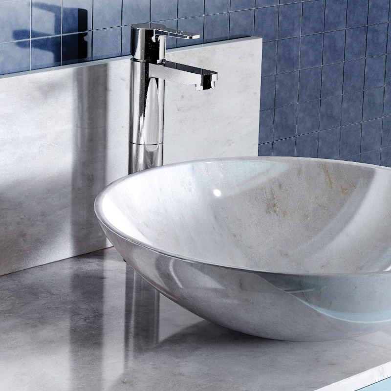 Britton Bathrooms - Crystal tall basin mixer without pop up waste - CTA3 profile large image view 2
