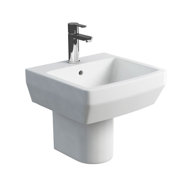 Britton Bathrooms - Cube S20 Washbasin with round semi pedestal - 2 Size Options profile large image view 1