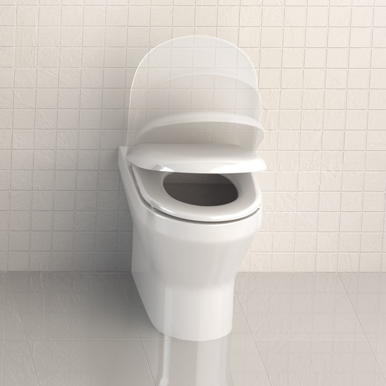 Britton Bathrooms - Curve Back to wall WC with soft close seat profile large image view 3