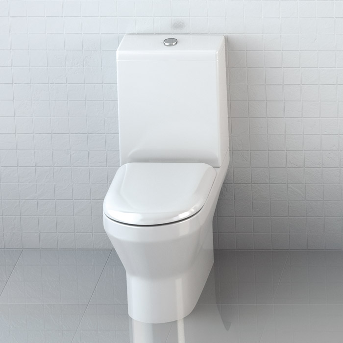 Britton Bathrooms - Curve S30 Close Coupled WC with Cistern & Soft Close Seat (Open Back) Profile Large Image
