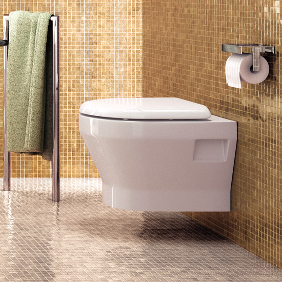 Britton Bathrooms - Curve Wall hung WC with soft close seat Standard Large Image
