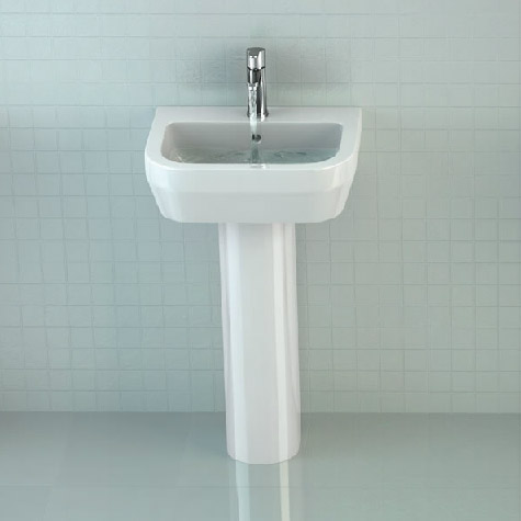 Britton Bathrooms - Curve Washbasin with round full pedestal - 2 Size Options Profile Large Image