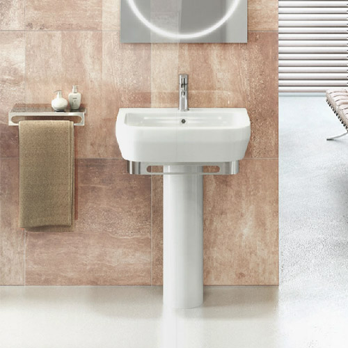 Britton Bathrooms - Curve Washbasin with round full pedestal - 2 Size Options Feature Large Image
