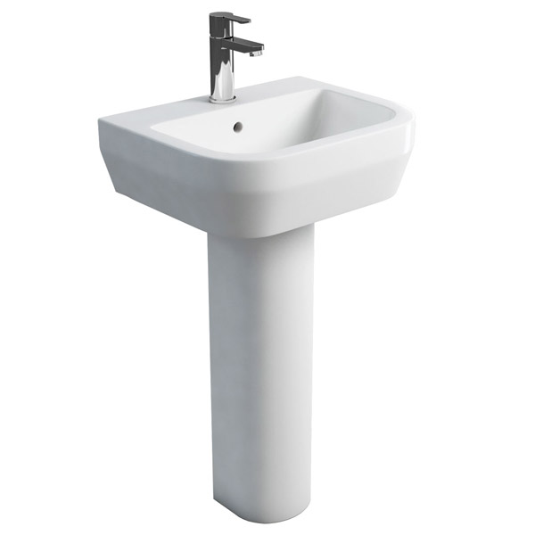 Britton Bathrooms - Curve Washbasin with round full pedestal - 2 Size Options Large Image