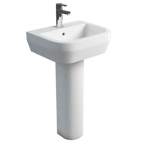 Britton Bathrooms - Curve Washbasin with round full pedestal - 2 Size Options