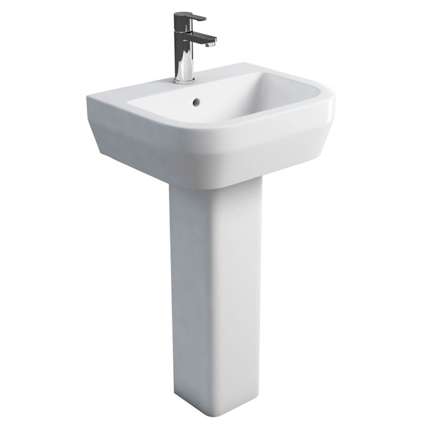 Britton Bathrooms - Curve Washbasin with square full pedestal - 2 Size Options Large Image