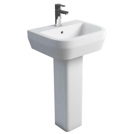Britton Bathrooms - Curve Washbasin with square full pedestal - 2 Size Options