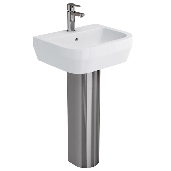 Britton Bathrooms - Curve Washbasin with stainless steel full pedestal - 2 Size Options profile large image view 1