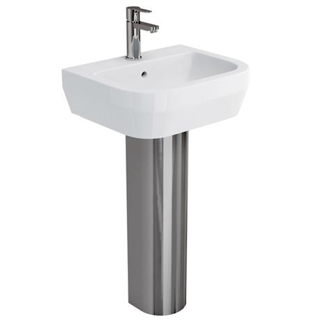 Britton Bathrooms - Curve Washbasin with stainless steel full pedestal - 2 Size Options