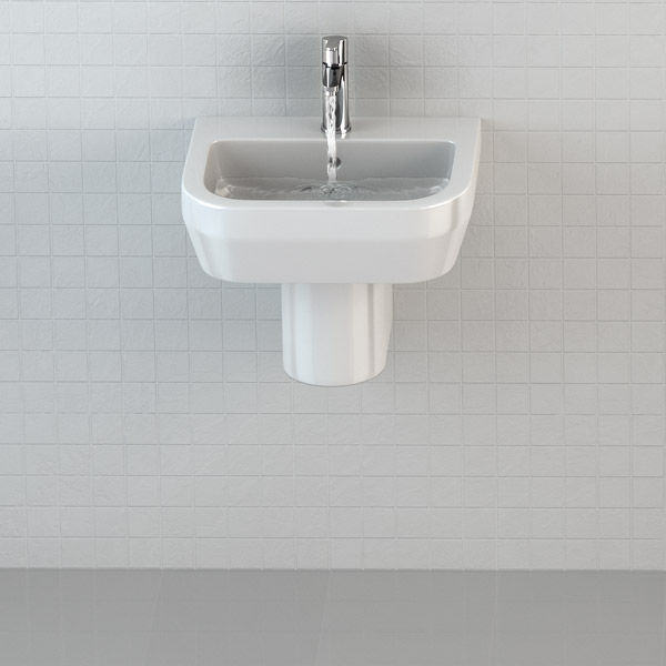 Britton Bathrooms - Curve Washbasin with round semi pedestal - 2 Size Options profile large image view 2