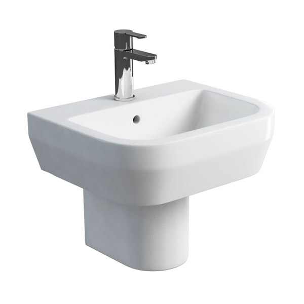 Britton Bathrooms - Curve Washbasin with round semi pedestal - 2 Size Options Large Image