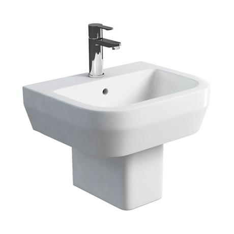 Britton Bathrooms - Curve Washbasin with square semi pedestal - 2 Size Options