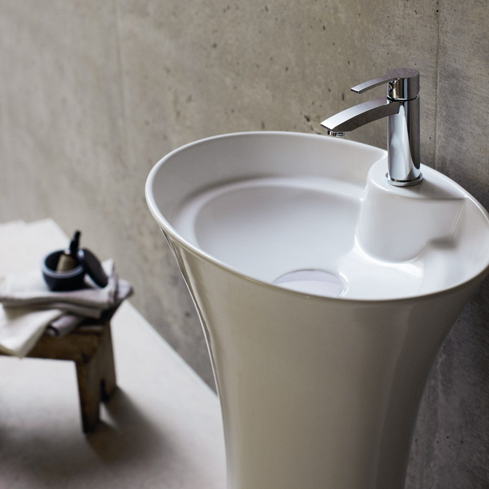 Britton Bathrooms - Curve freestanding basin with pedestal including waste profile large image view 3