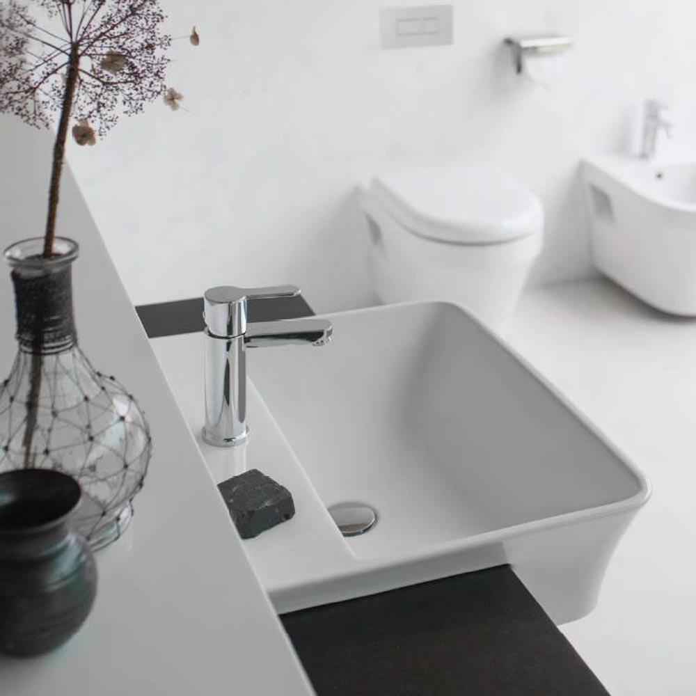 Britton Bathrooms Fine S40 Semi Recessed Basin 55cm - 40.6610  Profile Large Image