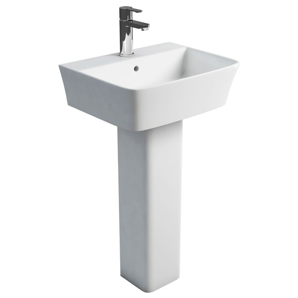 Britton Bathrooms - Fine S40 Washbasin with square full pedestal - 2 Size Options profile large image view 1