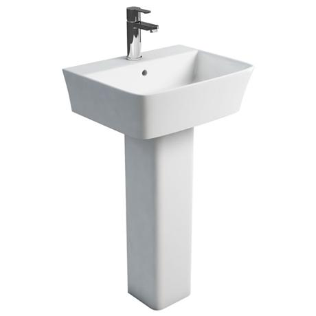 Britton Bathrooms - Fine S40 Washbasin with square full pedestal - 2 Size Options