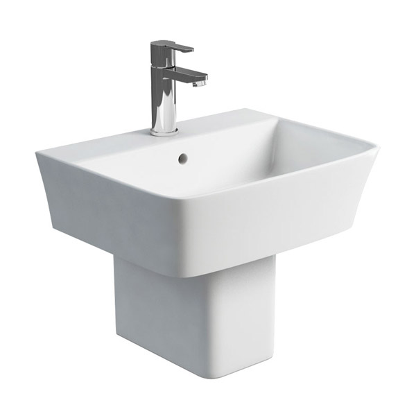 Britton Bathrooms - Fine S40 Washbasin with square semi pedestal - 2 Size Options Large Image