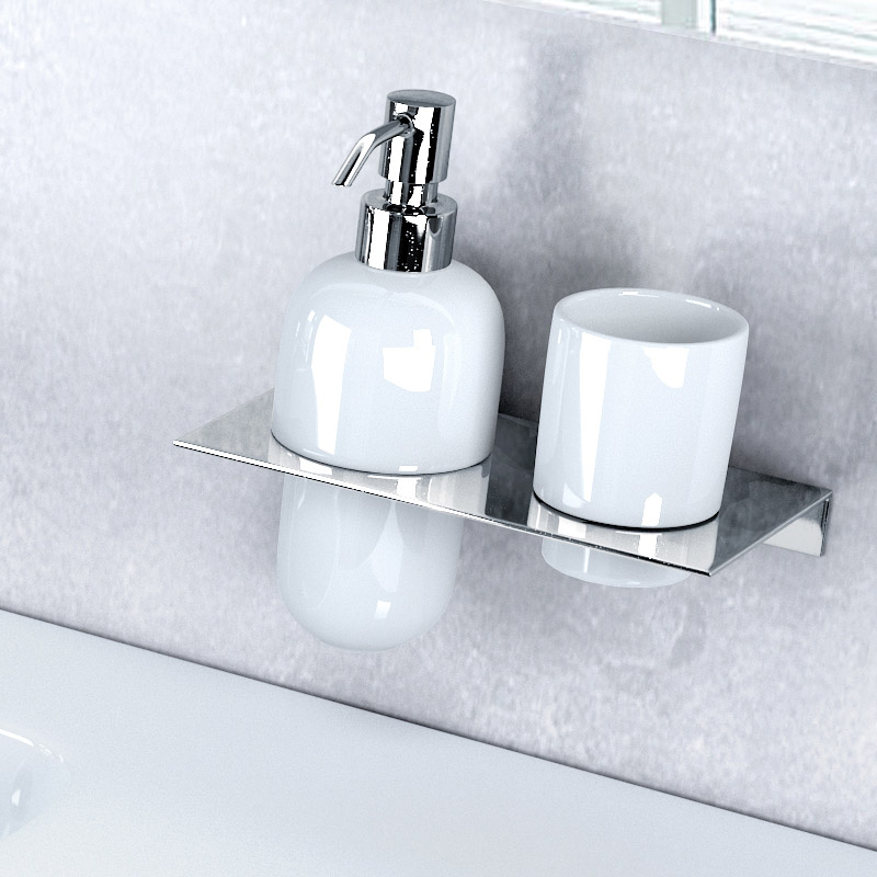 Britton Bathrooms - stainless steel shelf - double hole - BR5 Profile Large Image