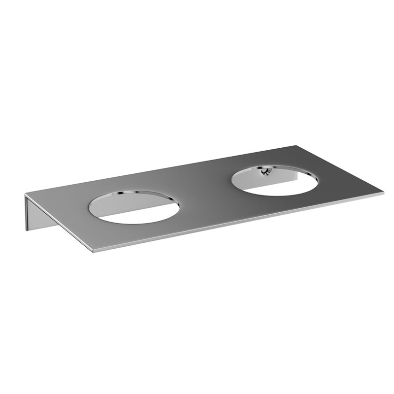 Britton Bathrooms - stainless steel shelf - double hole - BR5 Large Image