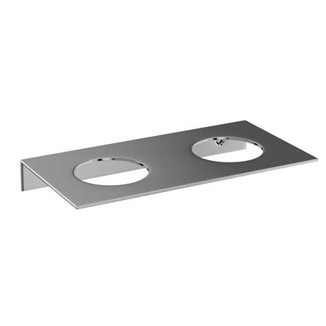 Britton Bathrooms - stainless steel shelf - double hole - BR5