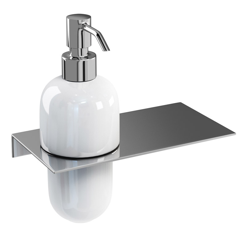 Britton Bathrooms - stainless steel shelf - offset hole - BR6 profile large image view 2