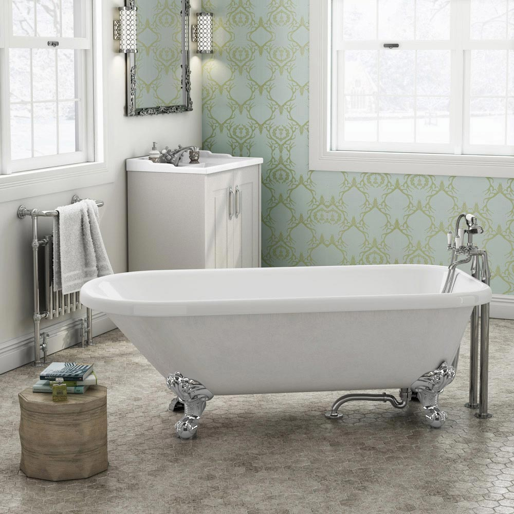 Bromley 1780 Single Ended Roll Top Bath + Chrome Leg Set Large Image