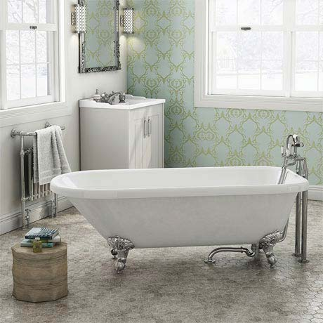 Bromley 1780 Single Ended Roll Top Bath + Chrome Leg Set