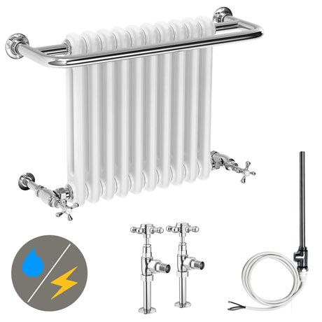 Bromley Traditional Wall Hung Towel Rail Radiator (Inc. Valves + Electric Heating Kit)