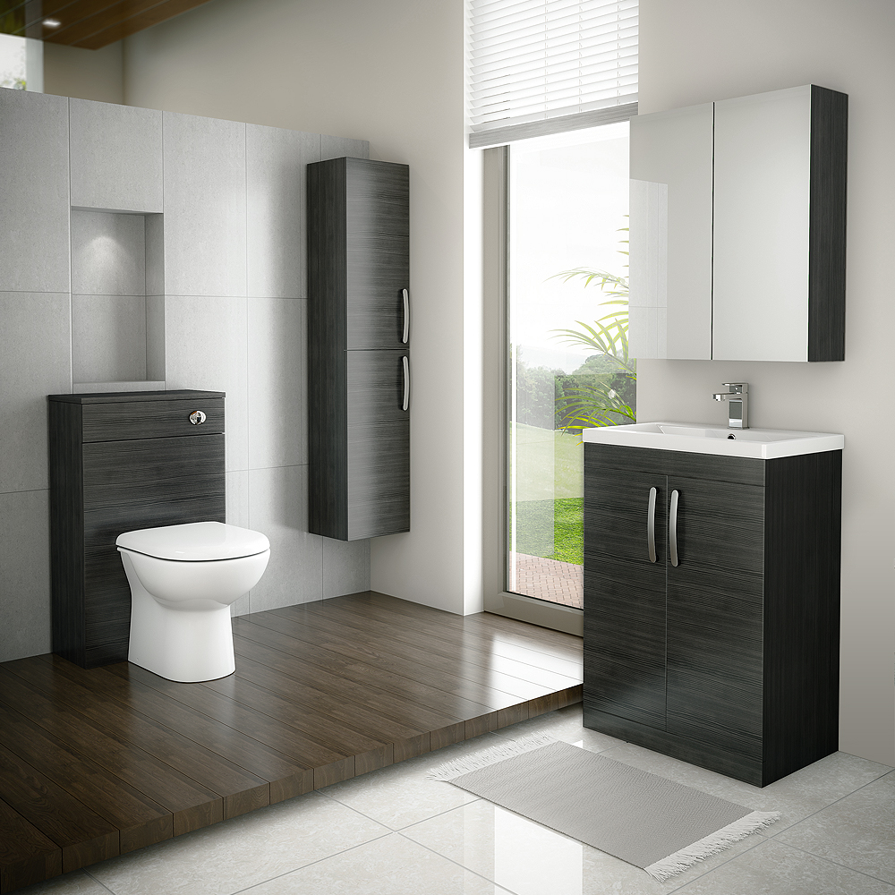Brooklyn 600mm Bathroom Mirror Cabinet - 2 Door - Black profile large image view 2