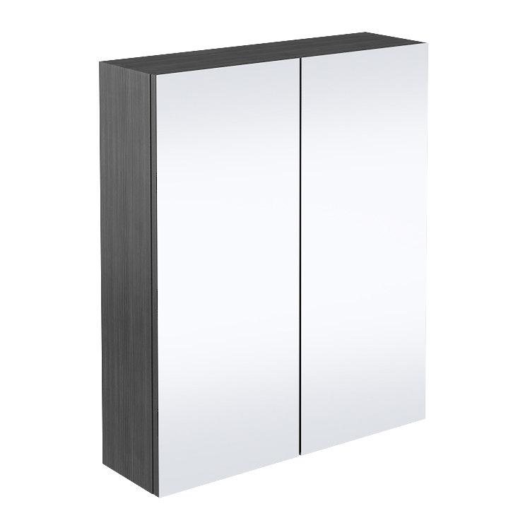 Brooklyn Bathroom Mirror Cabinet - 2 Door - Black - 600mm Large Image