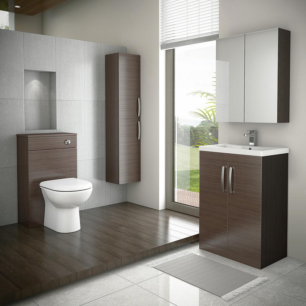 Brooklyn Bathroom Mirror Cabinet - 2 Door - Brown Avola - 600mm Profile Large Image