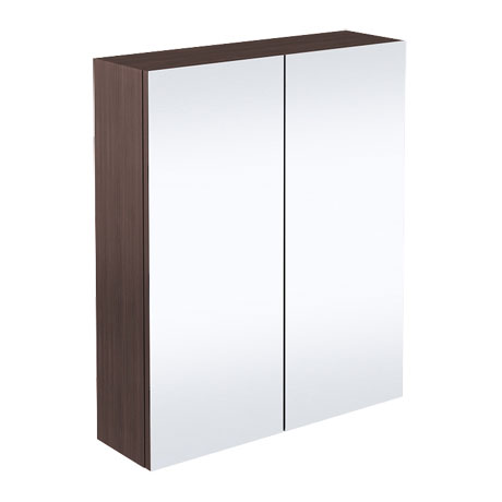 Brooklyn Bathroom Mirror Cabinet - 2 Door - Brown Avola - 600mm