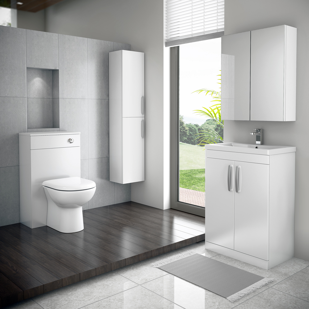 Brooklyn Bathroom Mirror Cabinet - 2 Door - White Gloss - 600mm Profile Large Image