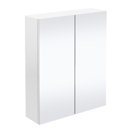 Brooklyn Bathroom Mirror Cabinet - 2 Door - White Gloss - 600mm