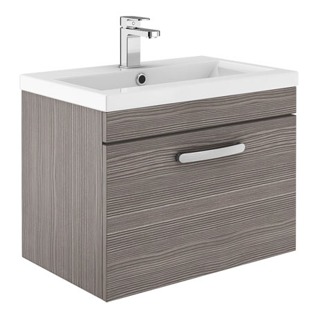 Brooklyn 500mm Grey Avola Wall Hung Vanity Unit - Single Drawer