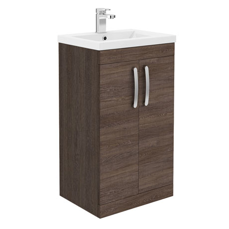 Brooklyn 500mm Mid Oak Vanity Unit - Floor Standing 2 Door Unit